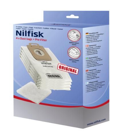 Sacchetti in microfibra Nilfisk Select , Power , Elite  , Extreme originali 4pz. + filtro